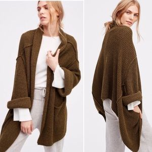 Free People Low Tide Cardigan Olive Green